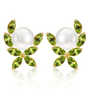 GOLD STUD EARRINGS WITH NATURAL PERIDOTS & PEARLS